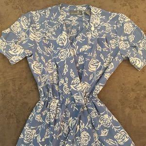 Liz Claborne Petite Dress with Floral blue pattern